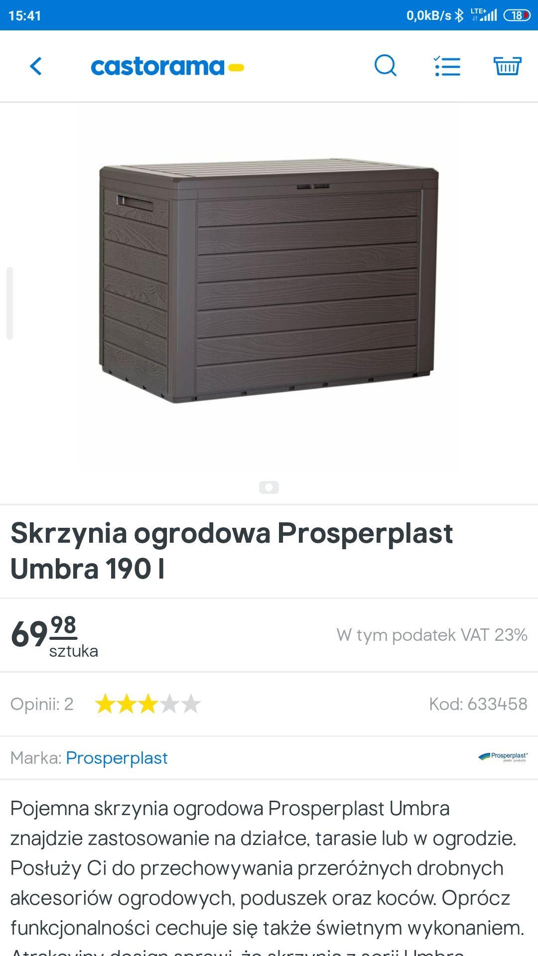 Skrzynia ogrodowa prosperplast 190l Castorama