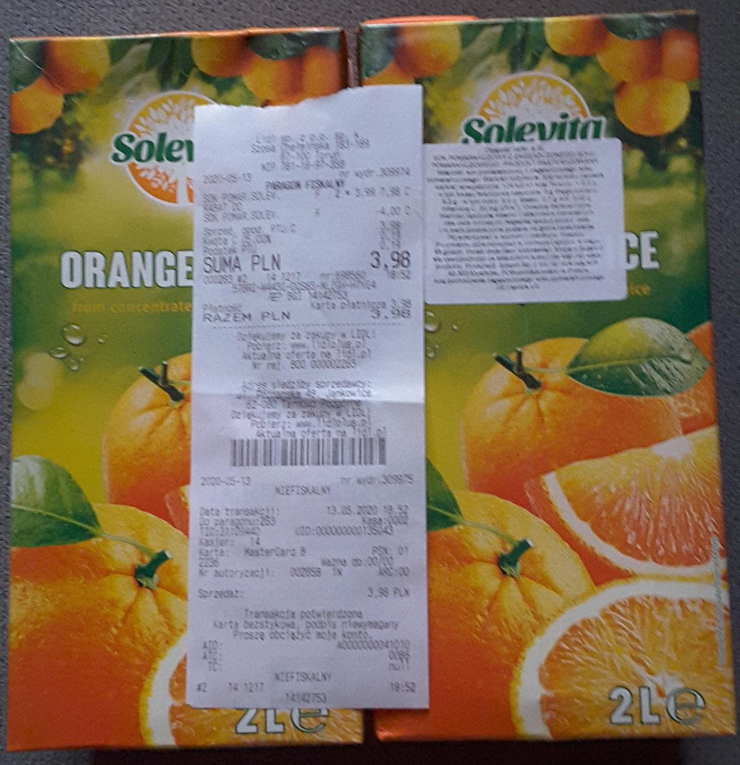 Sok pomarańczowy 2 l Solevita w Lidlu