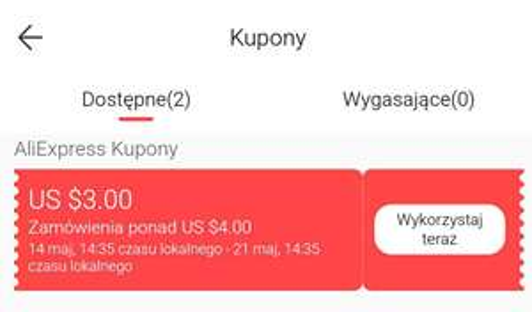 Kupon AliExpress 3/4 USD