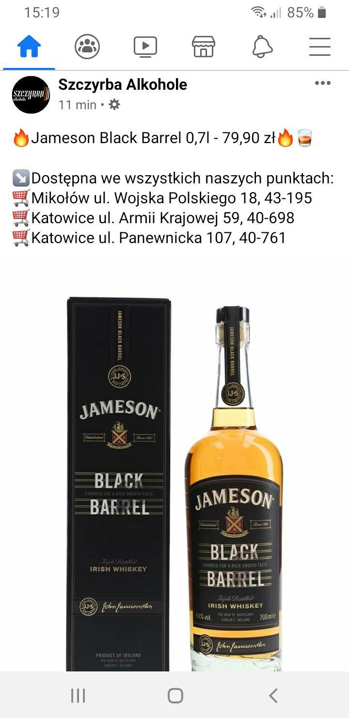 Jameson Black Barrel 0,7 Irish Whiskey SZCZYRBA ALKOHOLE