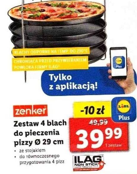 Zenker Zestaw 4 blach ze stojakiem do pieczenia pizzy Ø 29 cm LIDL