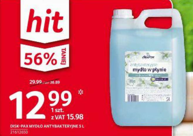 Mydło antybakteryjne diskPax w płynie 5L w dobrej cenie. Selgros
