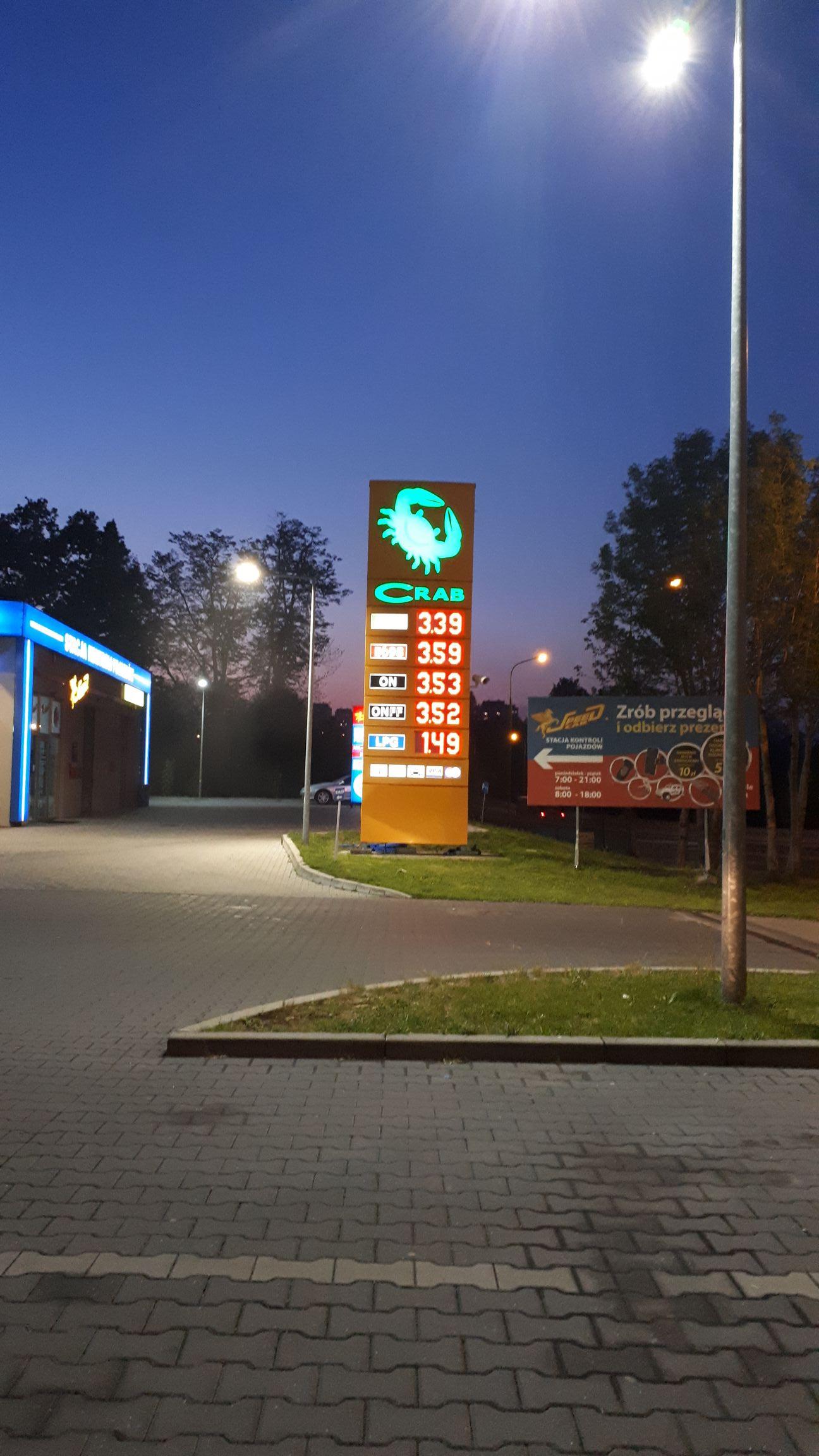 Paliwo ON FF 3,52zł stacja Crab Bielsko-Biała
