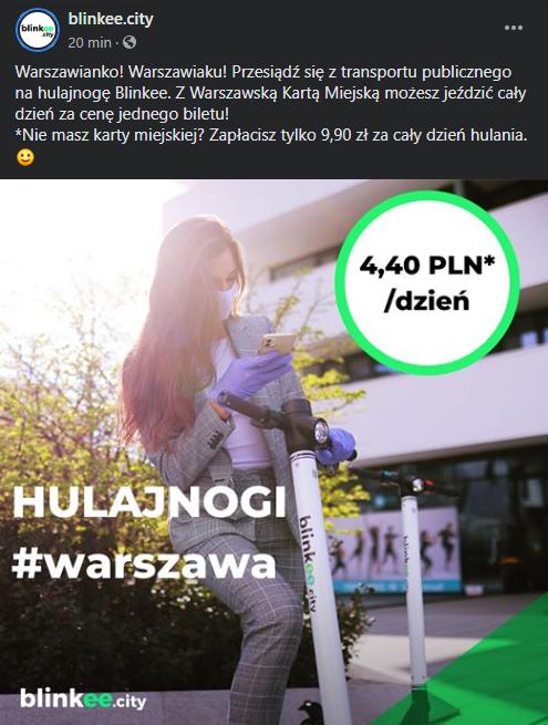 4.40zł za cały dzień jazdy hulajnogą blinkee w Warszawie