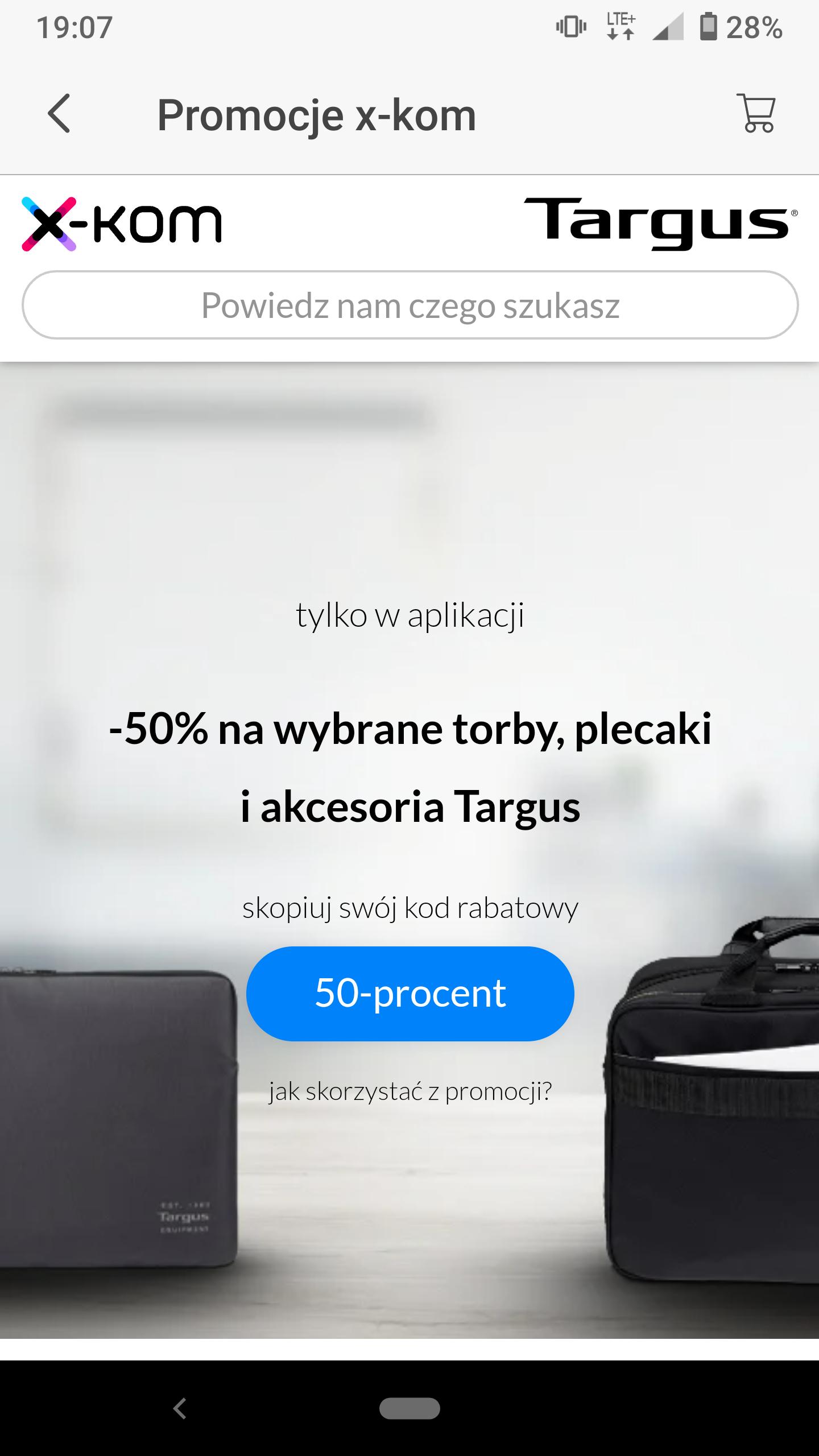 -50% na wybrane torby, plecaki i akcesoria Targus w aplikacji x-kom