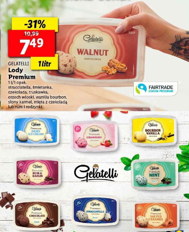 Lody Gelatelli Premium 1l różne smaki Lidl