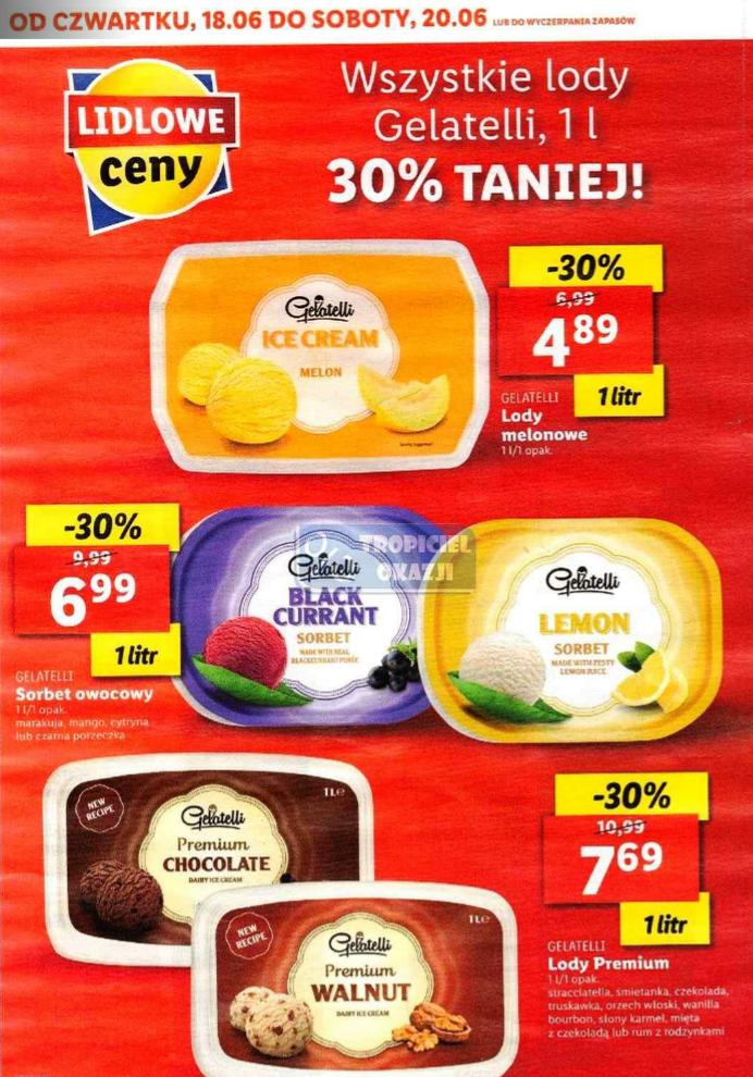 Lody Gelatelli Premium 1l / Sorbety owocowe 1l / Lody melonowe 1l Lidl