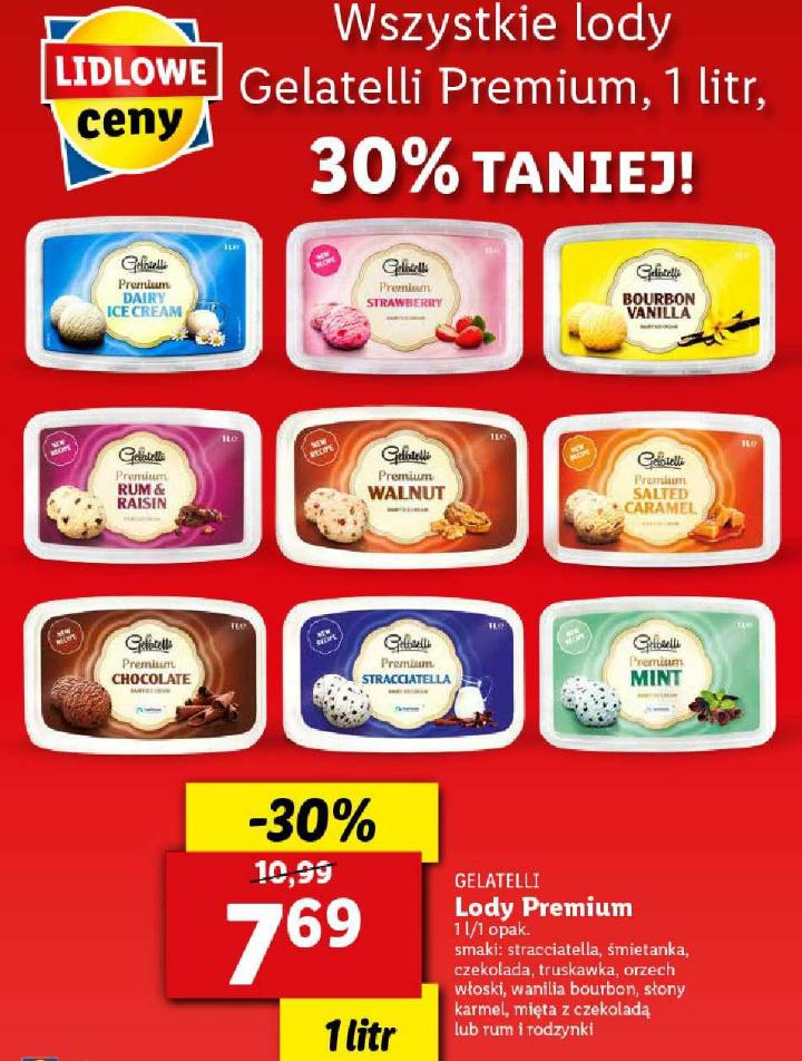 Wszystkie lody Gelatelli Premium 1l. Lidl