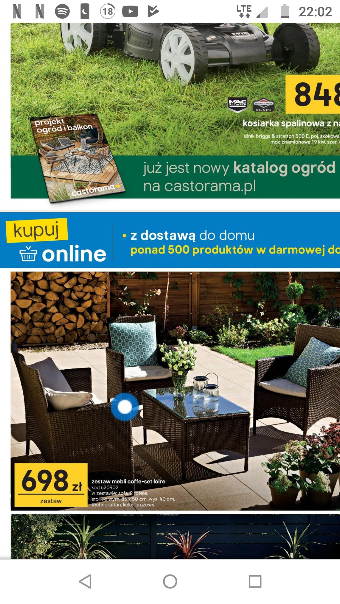 Zestaw mebli ogrodowych z technorattanu Blooma Loire (sofa+2fotele+ stolik) w Castorama.