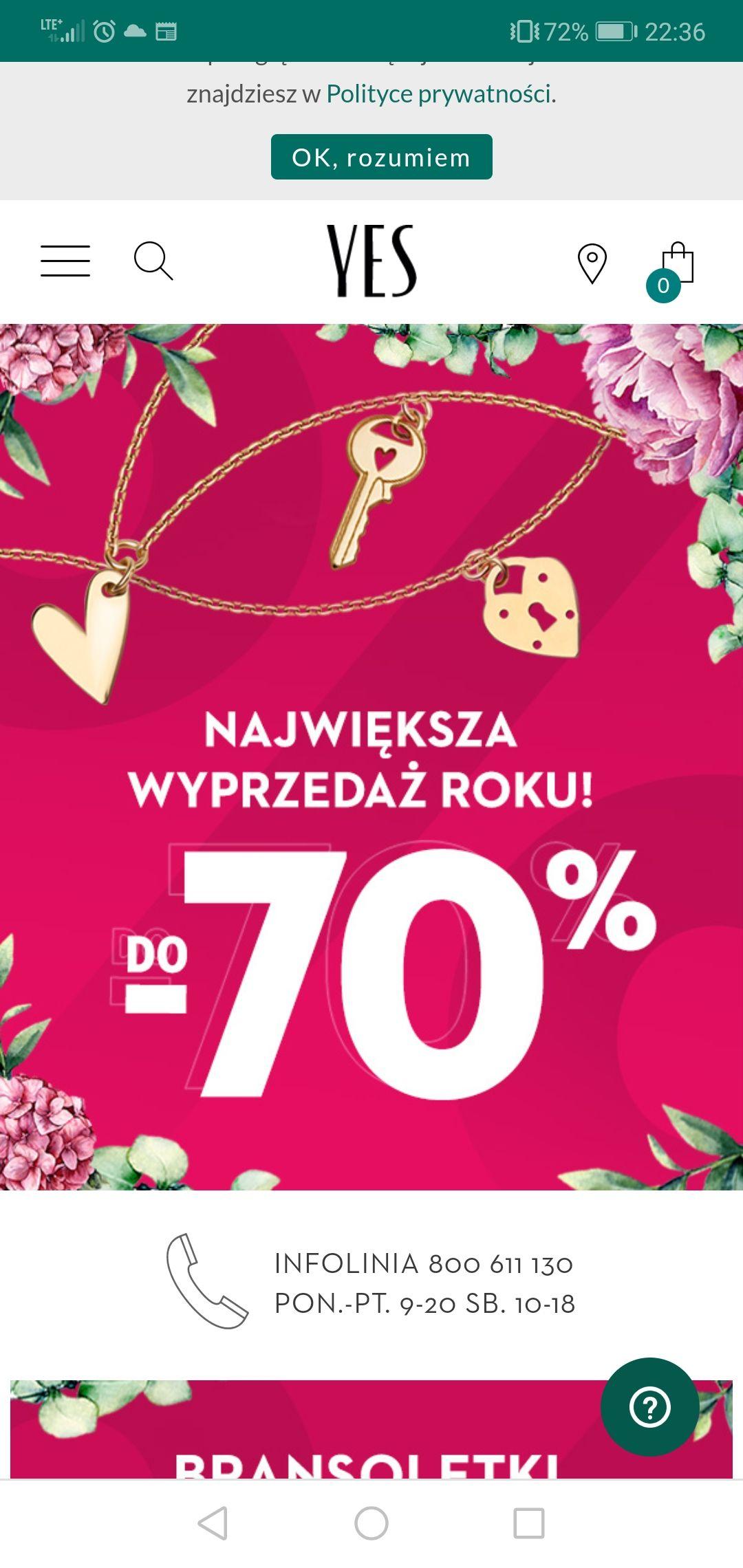 Biżuteria Yes wyprzedaż do 70%