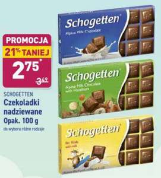 Czekoladki Schogetten 100g różne rodzaje Aldi