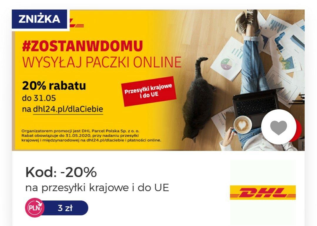 DHL przesyłki -20% taniej na przesyłki krajowe i do UE plus 3 zł cashback z goodie
