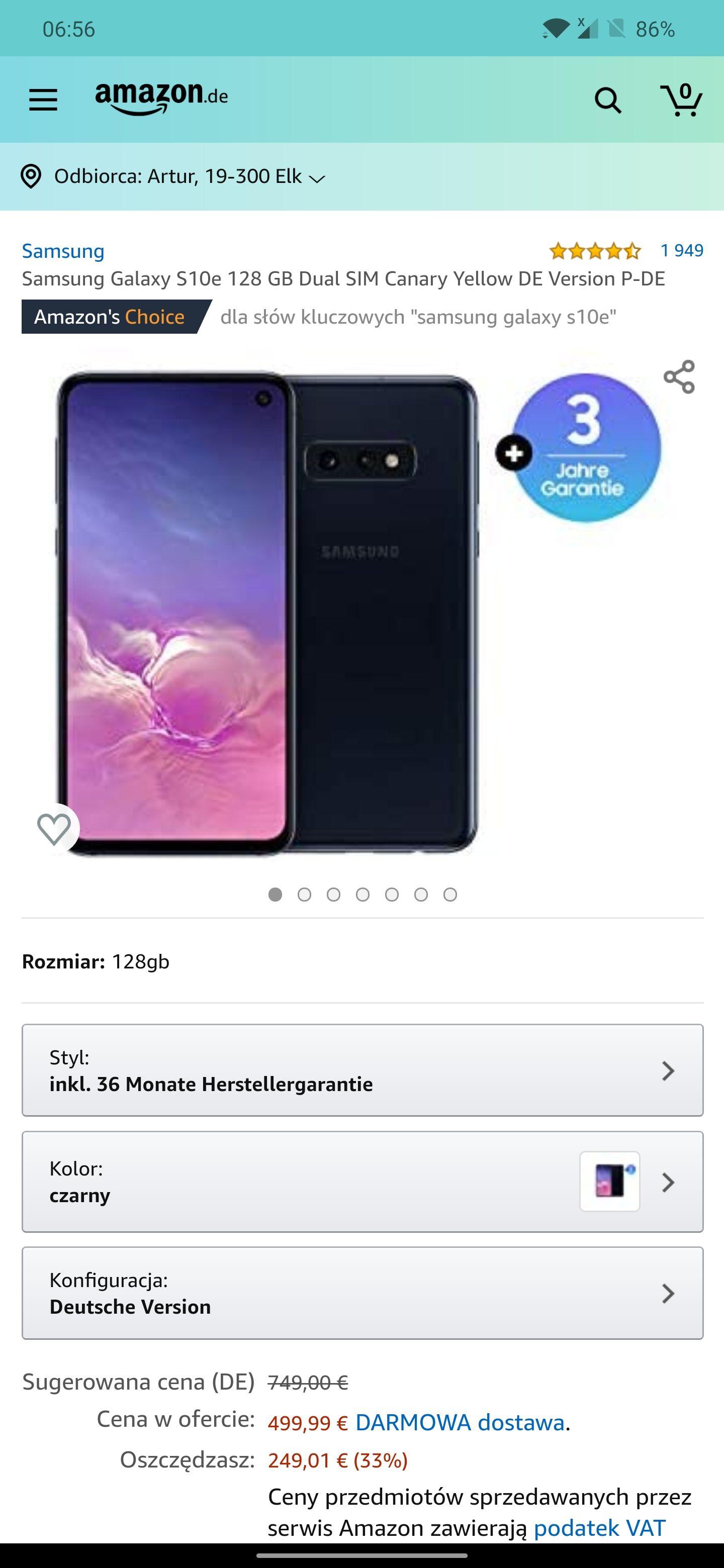 Samsung galaxy S10e Prism black z Amazonu, 516,80 €