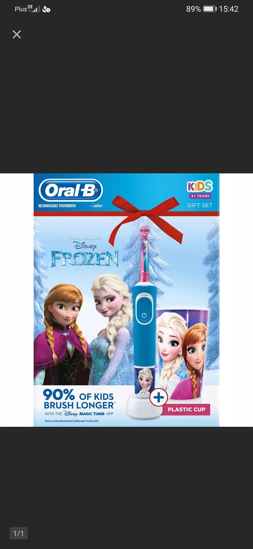 Zestaw Oral-B szczoteczka D100 Kids Frozen kubek