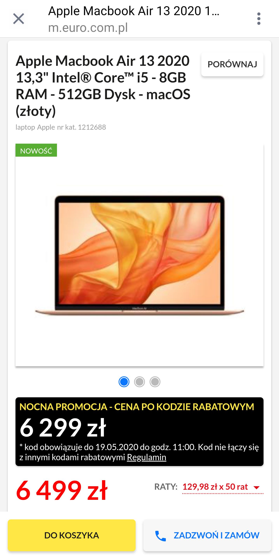 Apple Macbook Air 13 2020 i5-8GB RAM-512GB DYSK