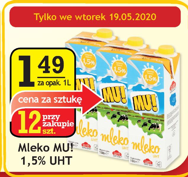 Mleko MU! 1,5% Cena przy zakupie 12 szt. @Gram Market