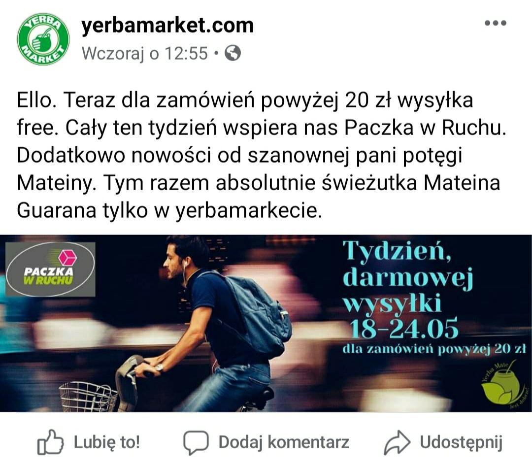Darmowa dostawa w yerba market
