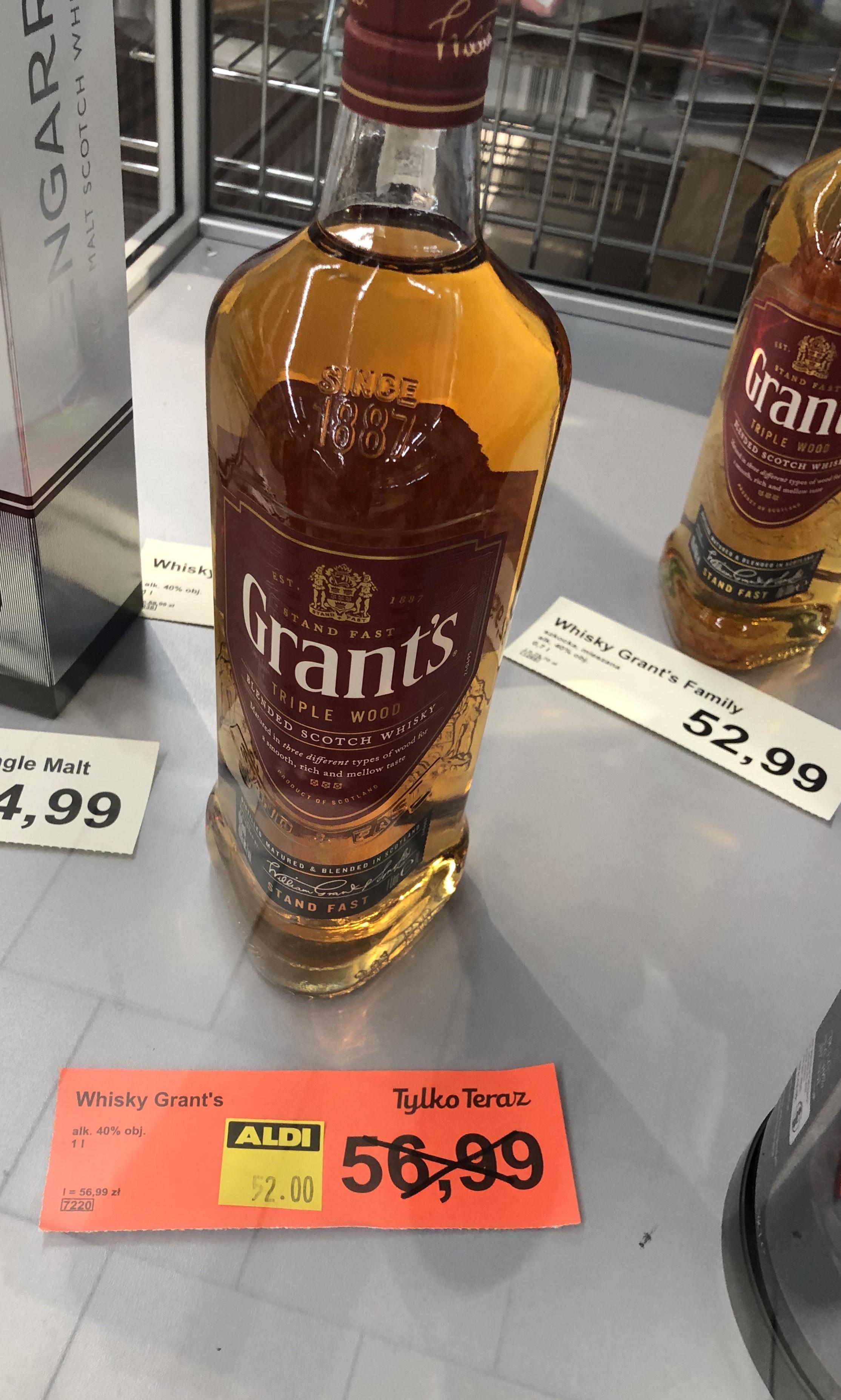Whisky Grants 1 l. za 52 zł Aldi