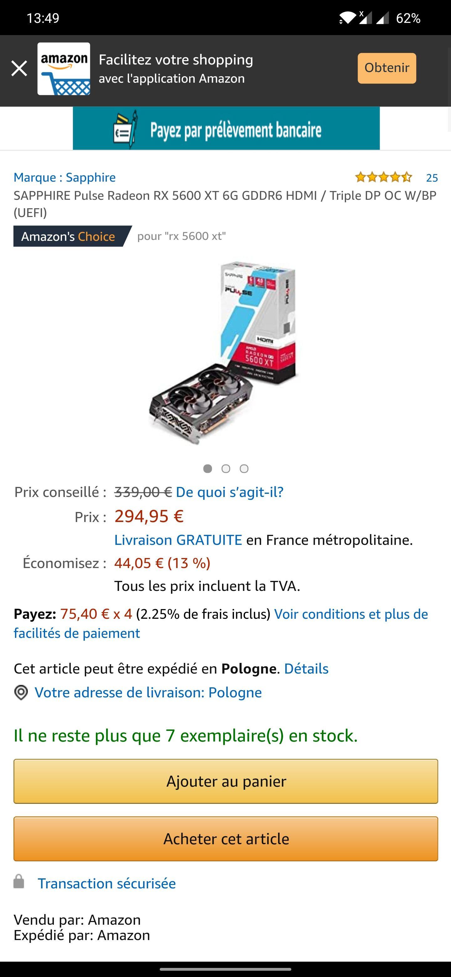 SAPPHIRE Pulse Radeon RX 5600 XT (€295)