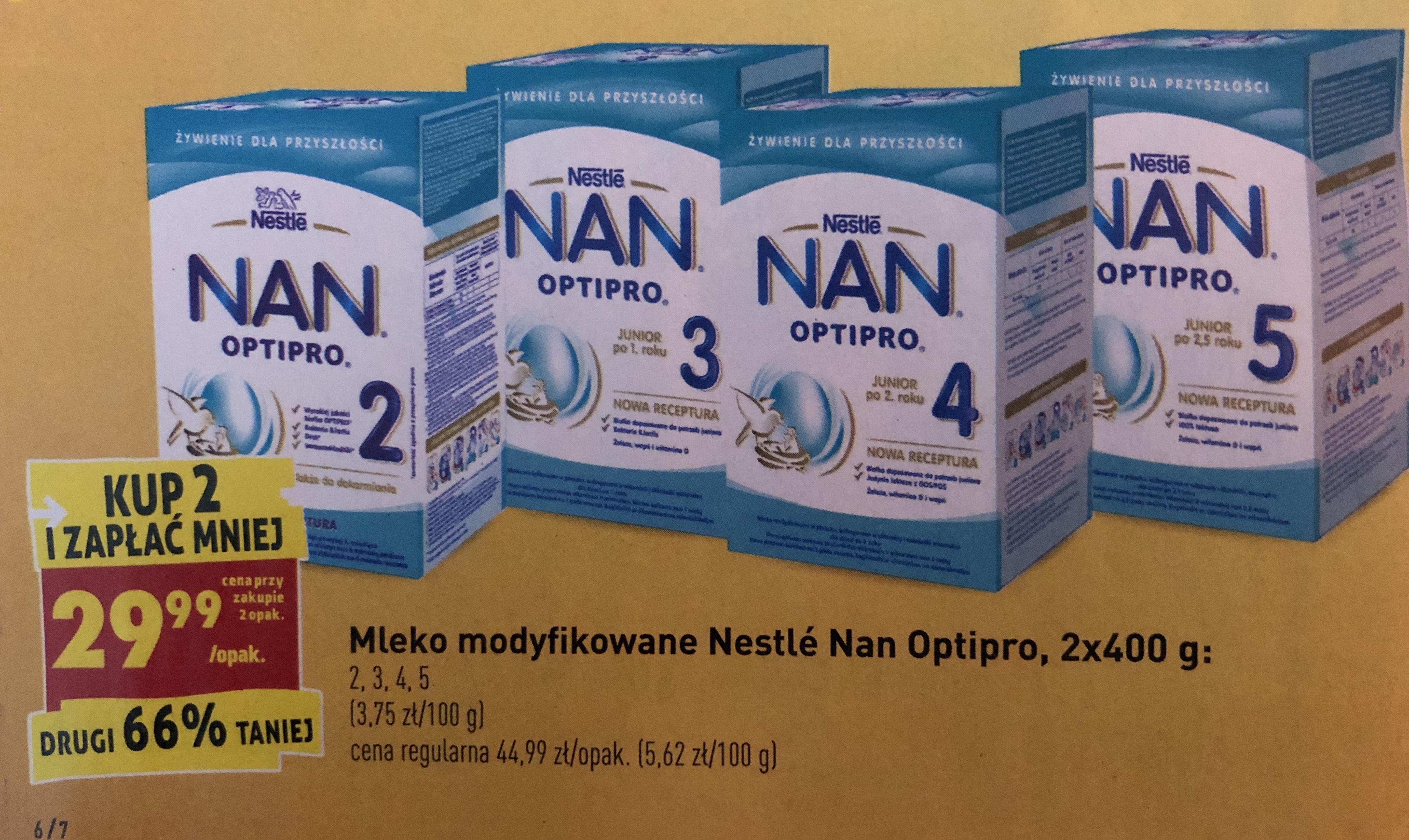 Mleko Nestle Nan Optipro druga sztuka 66% taniej Biedronka