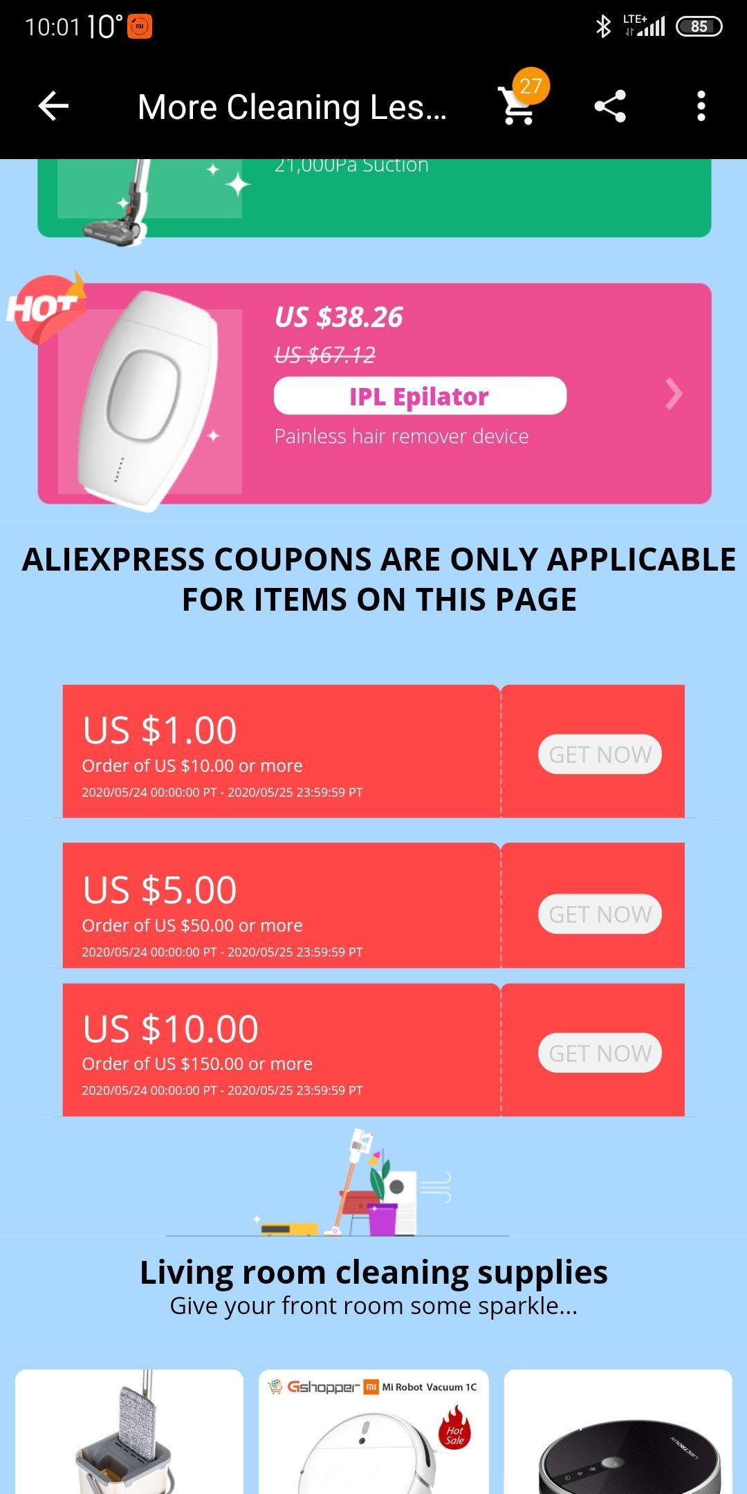 Kupony AliExpress na sprzęt AGD 1/10$ 5/50$ 10/150$