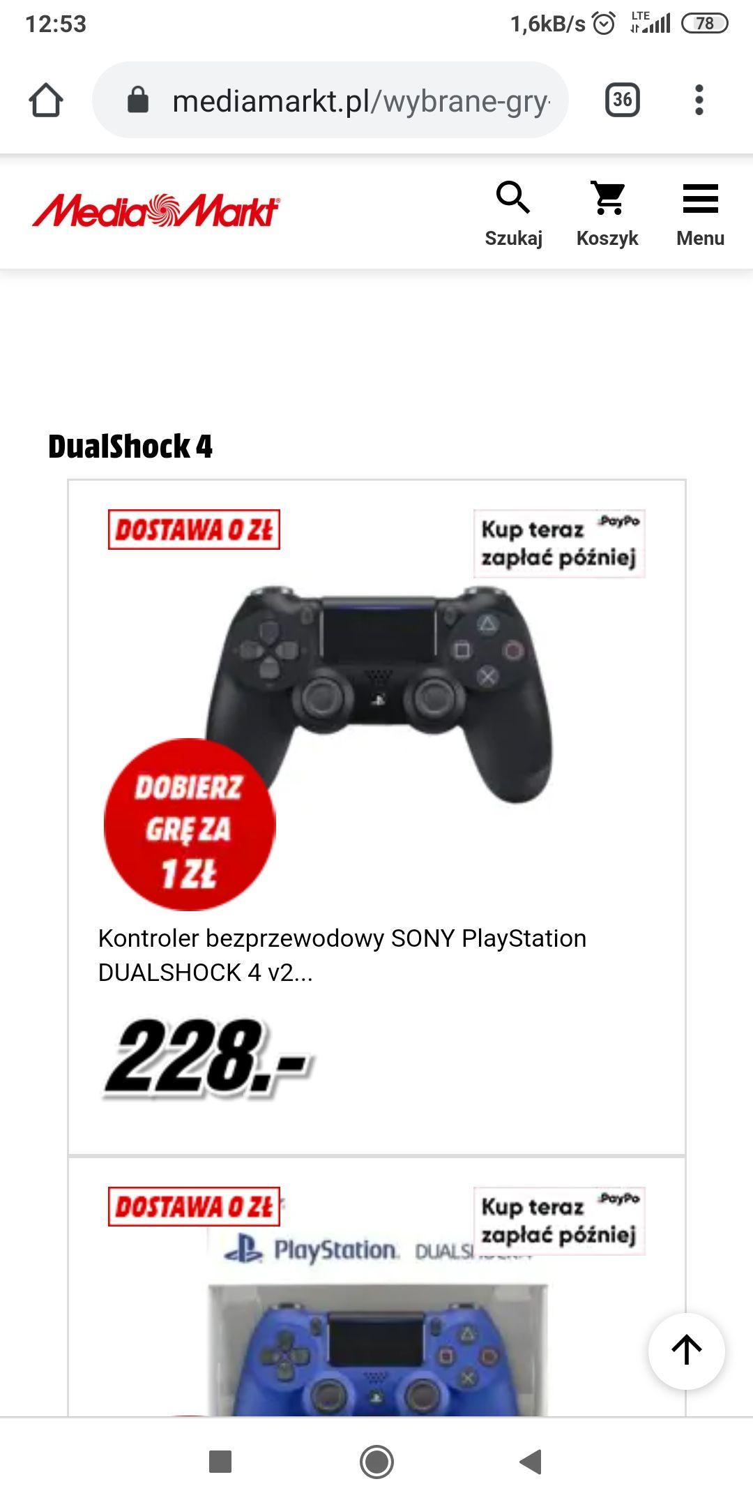 DualShock 4 za 228 zł + gra za 1 zł