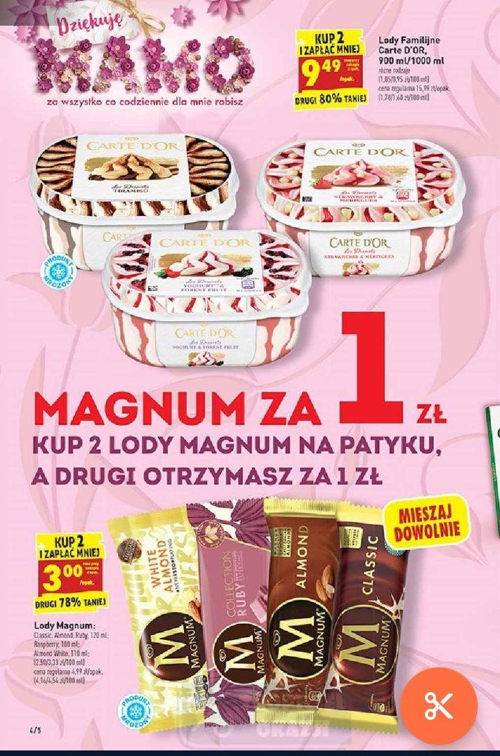 Biedronka Lody Carte Dor 9,49 przy zakupie 2op lody Magnum kup 2 drugi za 1zł