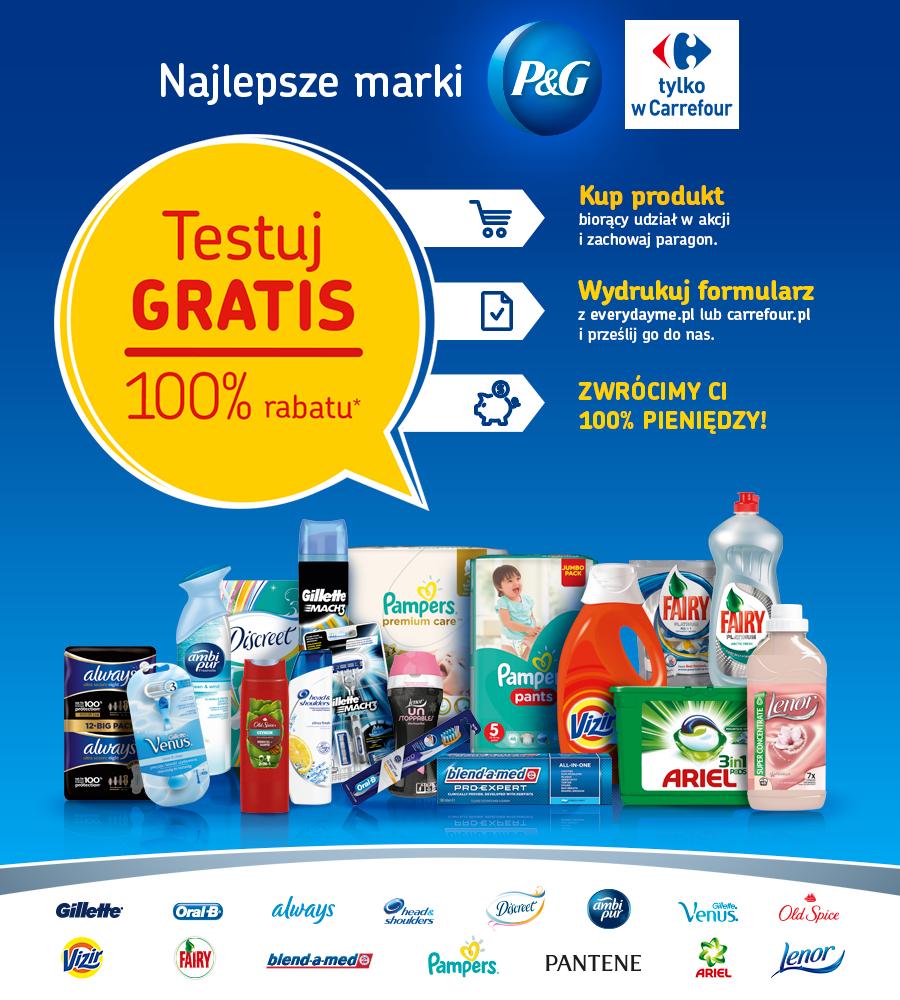 CASHBACK 100% za zakup produktów firmy P&G @ Carrefour