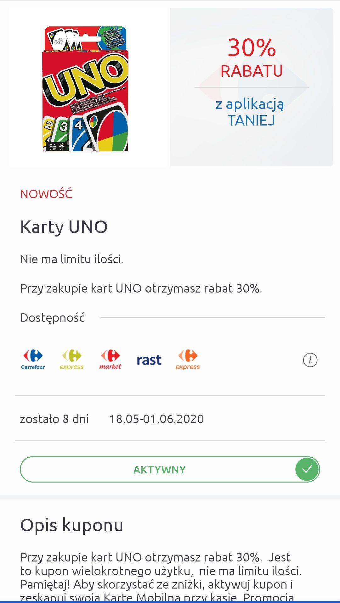 Gra karciana UNO taniej z aplikacją @Carrefour
