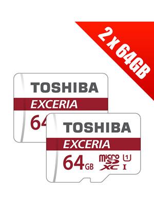 2 x Toshiba Exceria 64GB MicroSDXC Card Class 10 with SD Adapter
