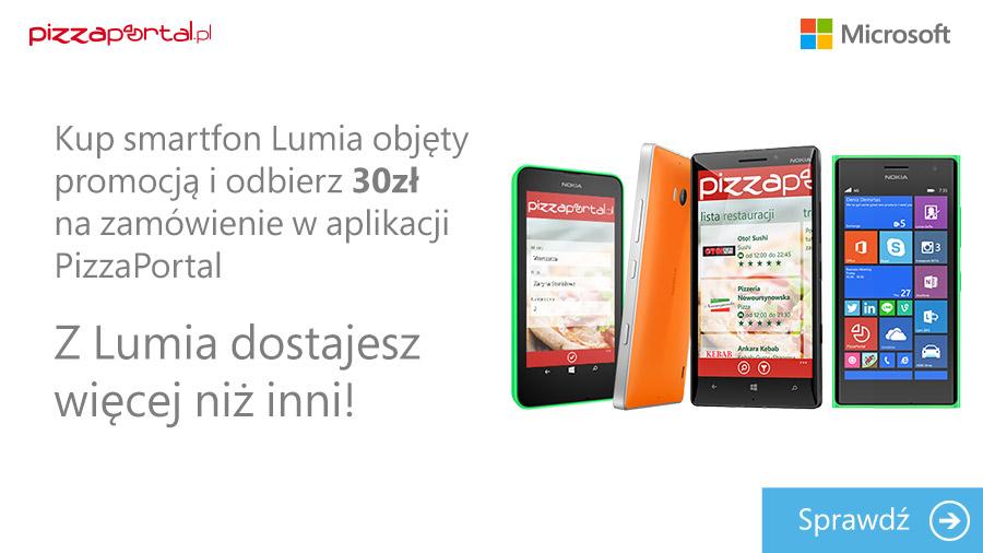 30 zł do wydania na zamówienie dla posiadaczy Nokia Lumia @ PizzaPortal