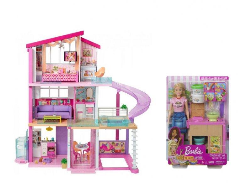 Duży domek dla lalek Barbie + lalka Barbie w al.to