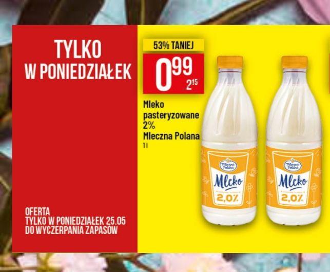 Mleko pasteryzowane 2% Mleczna Polana 0.99gr Polomarket tylko 25.05