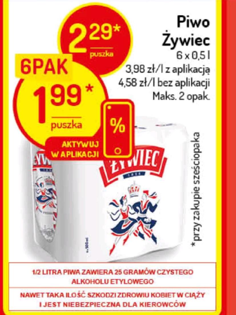 Piwo Żywiec za 1,99 szt. (przy zakupie 6 szt.) Delikatesy Centrum