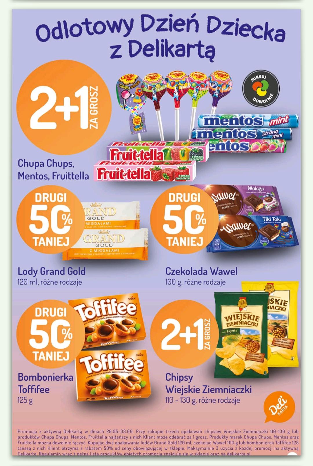 2+1 za grosz oraz drugi 50% - lista produktów Dzień Dziecka z Delikatesy Centrum