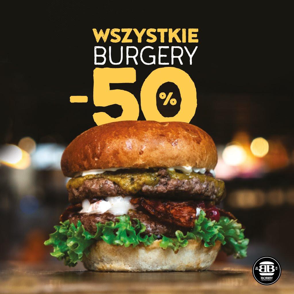Wszystkie burgery w Bobby Burger za pół ceny (przy zamówieniu frytek i napoju)