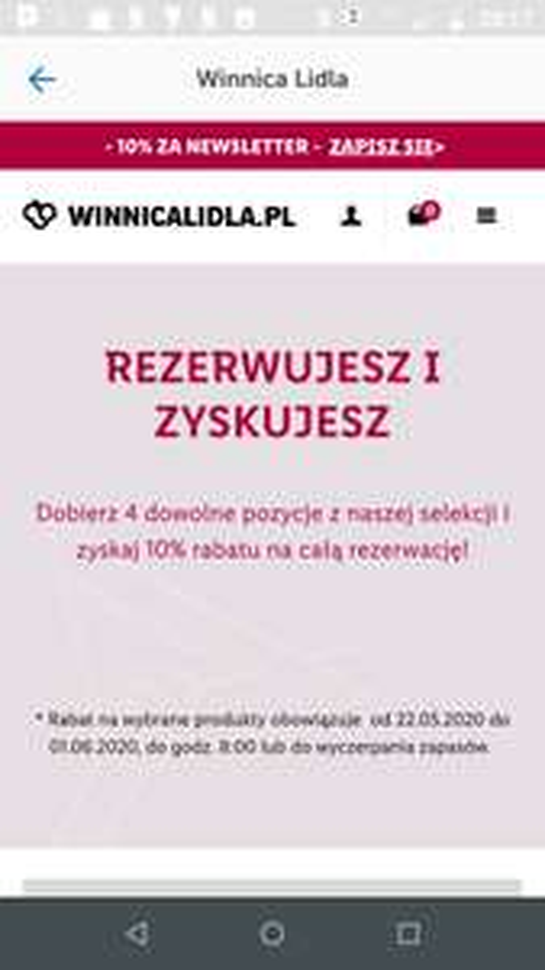 Kup 4 pozycje i zyskaj 10% w Winnicy Lidla