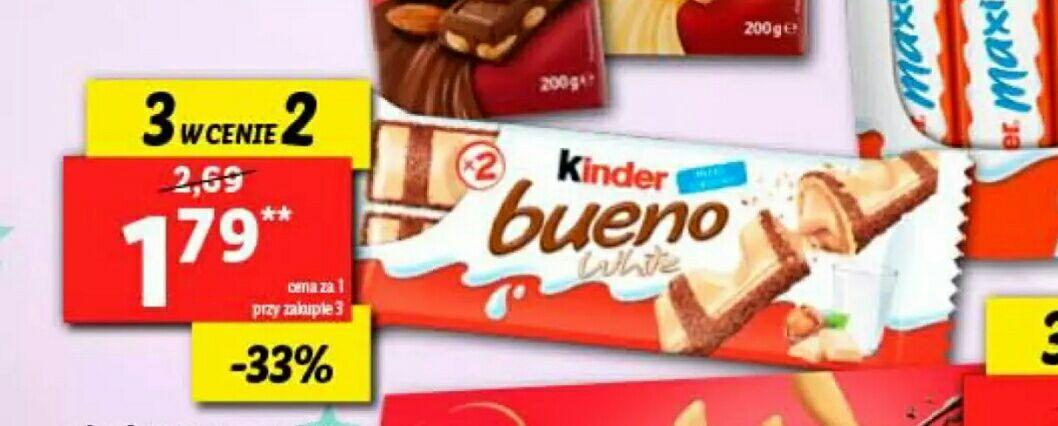 Lidl, Kinder Bueno za 1,79zl sztuka przy zakupie 3; wybrane słodycze 3 w cenie 2