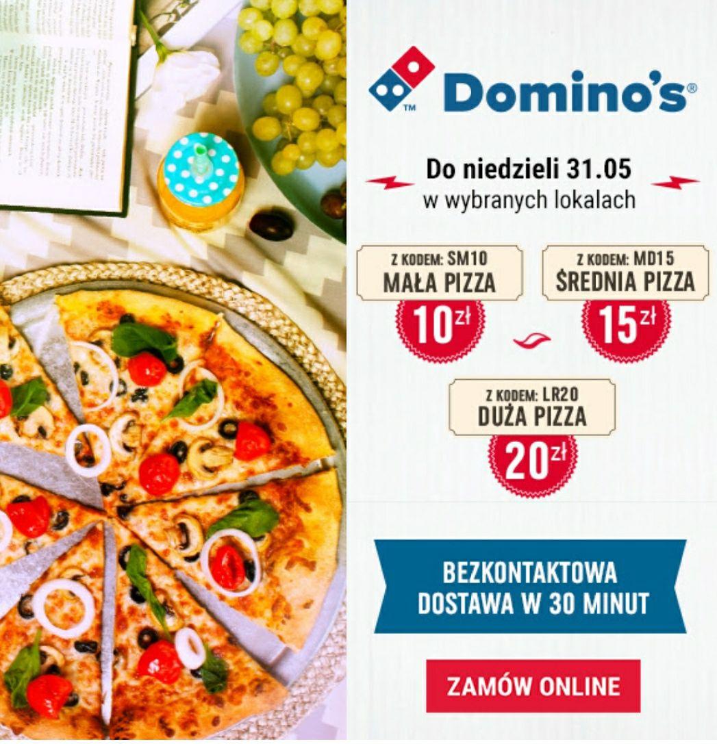Dominos Pizza: mała 10zl, srednia 15zl, duża 20zl