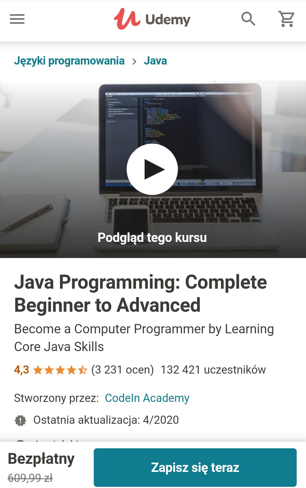 Kurs Java dla początkujących na Udemy
