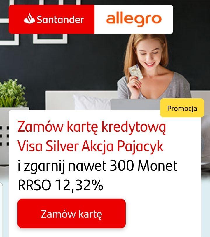 Nawet 300 monet allegro za założenie karty kredytowej Visa - santander