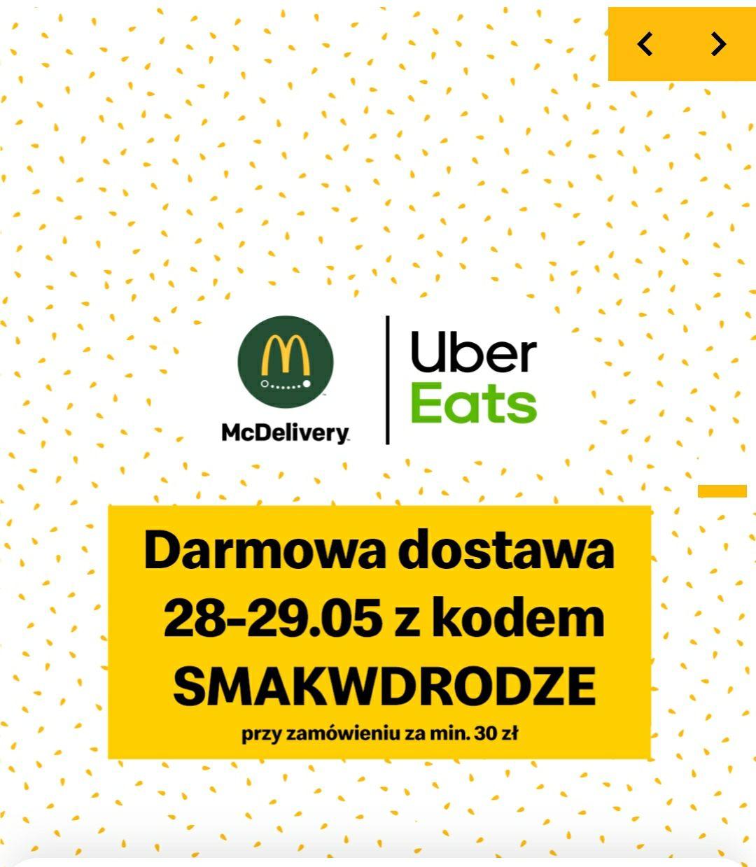 Uber Eats Darmowa dostawa 28-29.05.