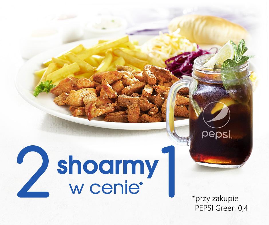 SPHINX 2 shoarmy w cenie 1 przy zakupie Pepsi Green 0,4 l