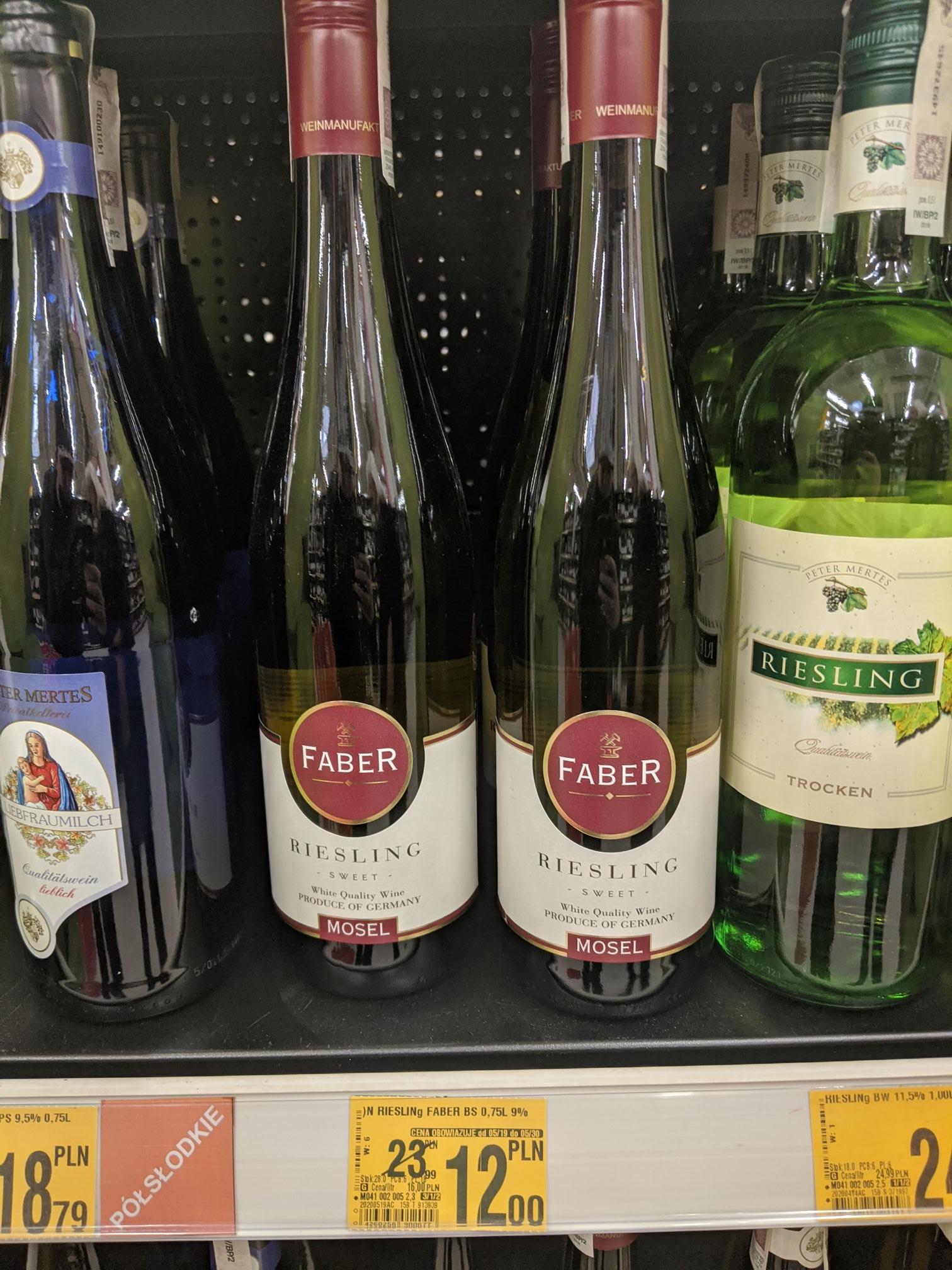 Wino białe Faber Riesling Sweet 2018 0.75L, 9%, Niemieckie, Słodkie, Auchan Dąbrowa Górnicza