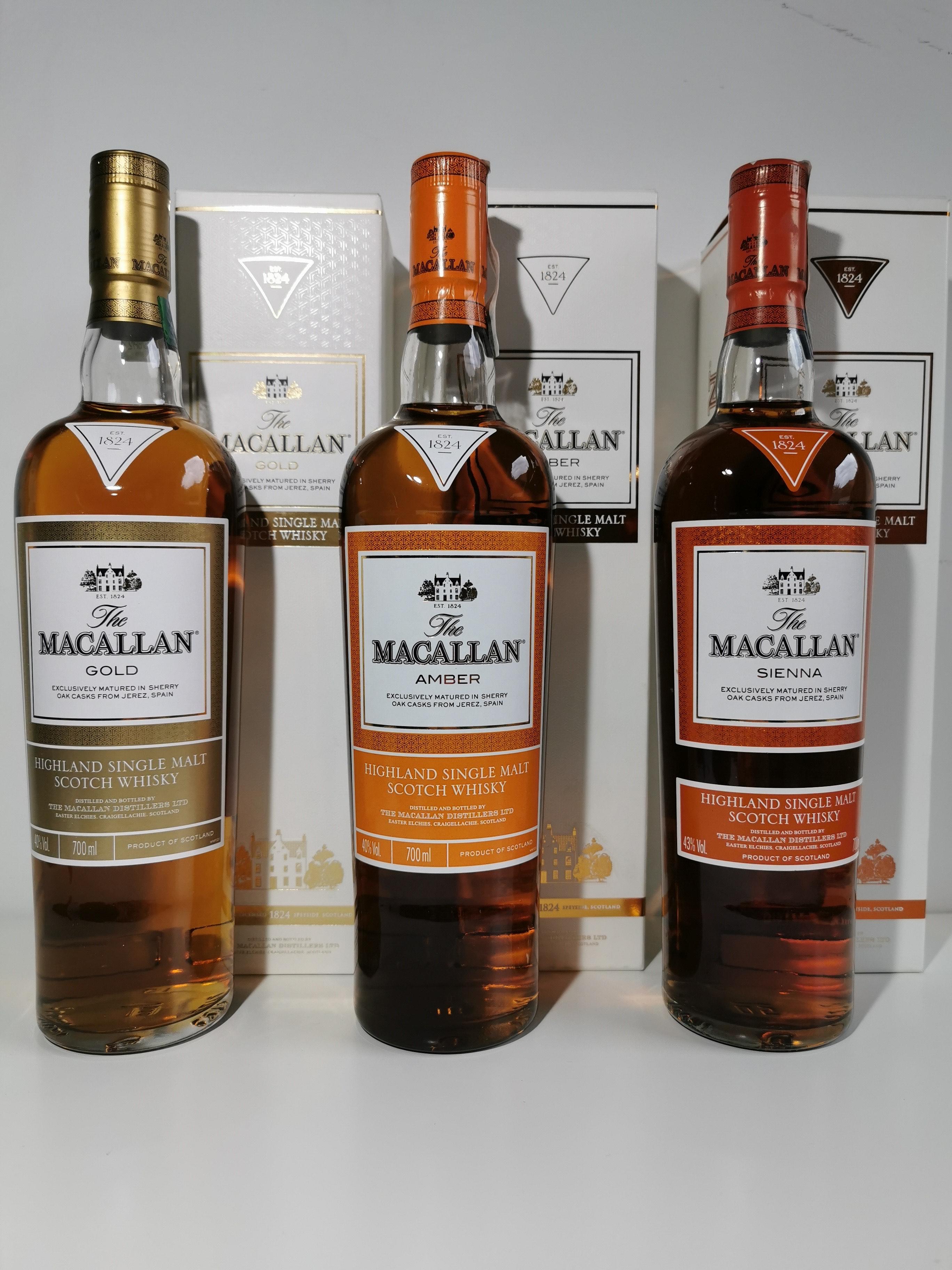 Kolekcja Whisky Macallan 1824 series (Gold | Amber | Sienna) + Macallan 12yo double cask