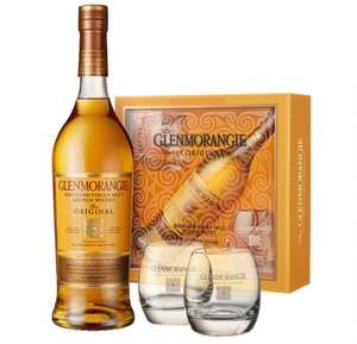 Highland Single Malt Scotch Whisky Glenmorangie Original 10letni w opakowaniu na prezent + 2 szklanki