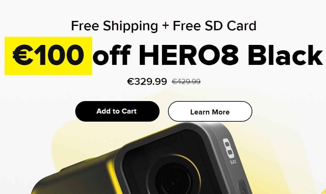 100€ taniej kamery GoPro Hero 7/8 Black na oficjalnej stronie + darmowa karta micro SD