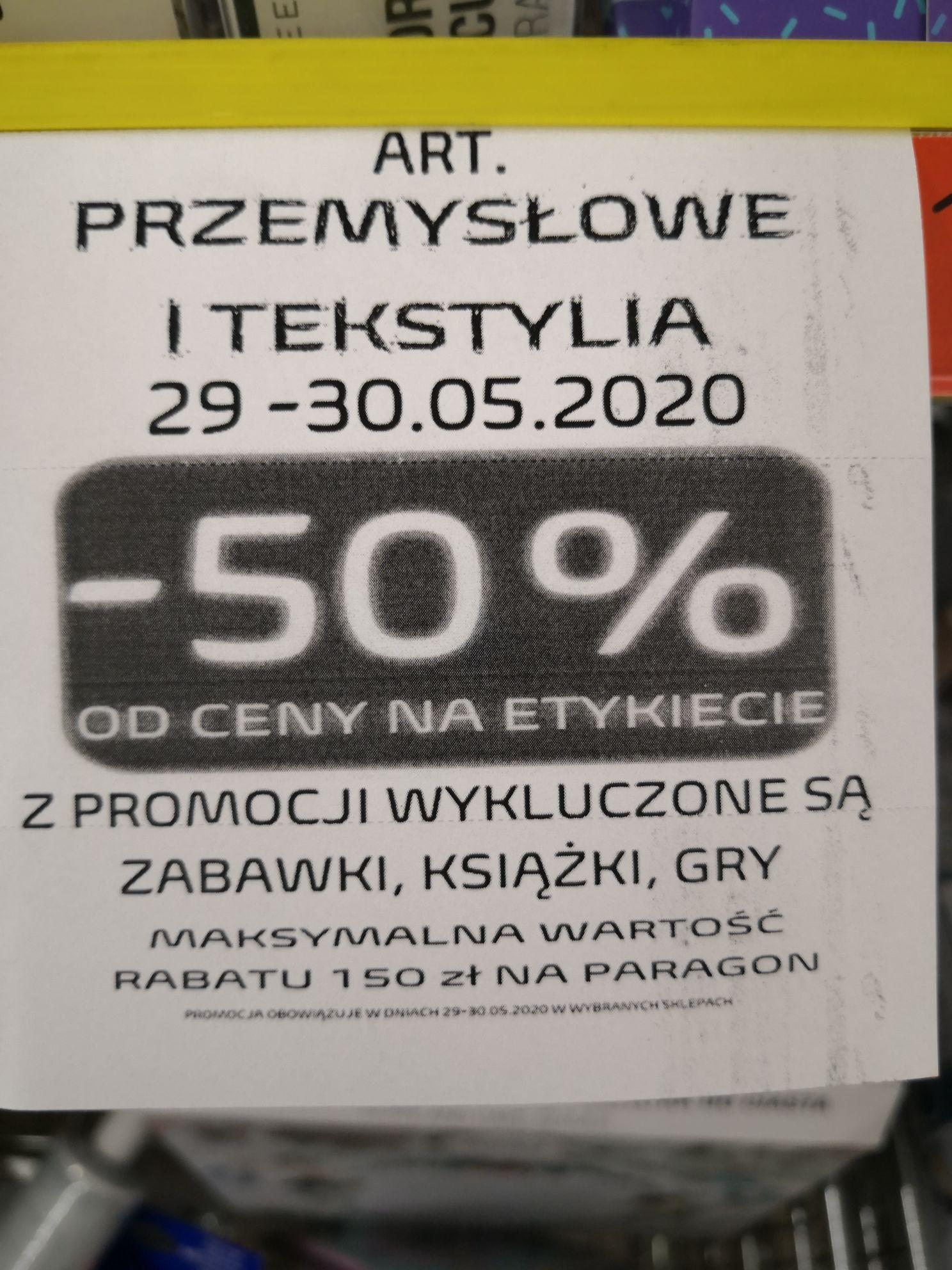 Biedronka - 50% na tekstylia i przemysłowe artykuły (29-30.05)