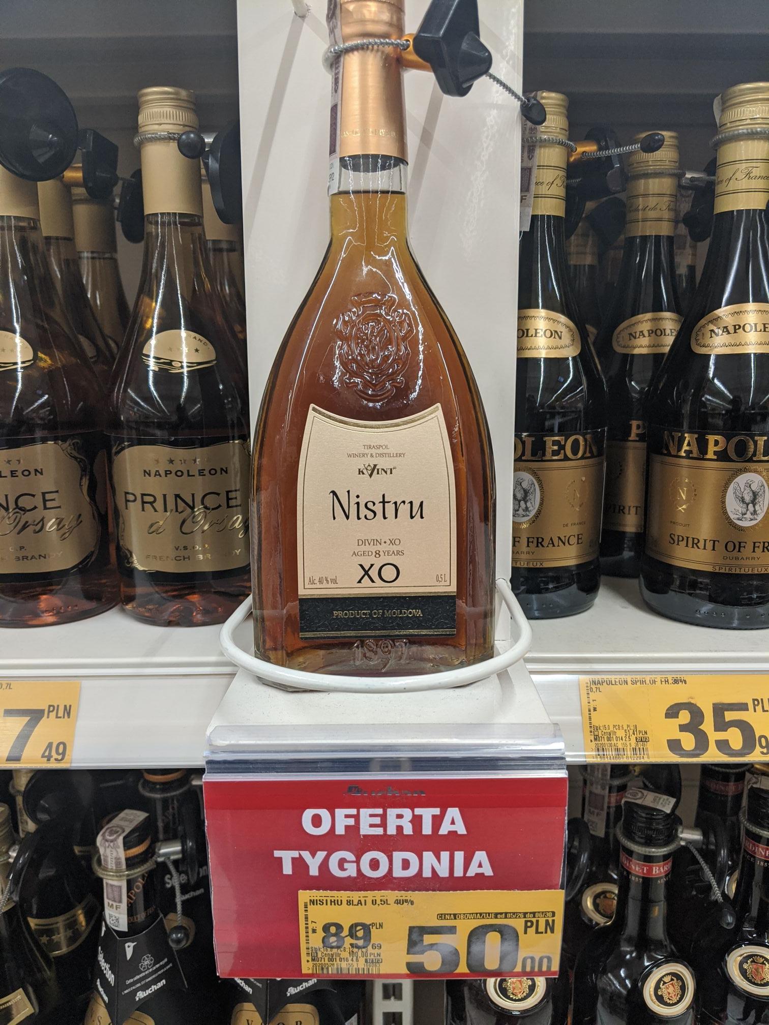 Brandy Kvint Nistru, 40%, 8 letnia, 500 ml, Mołdawskie, Auchan Dąbrowa Górnicza