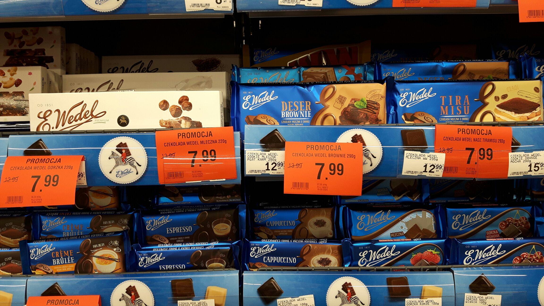 Wedel czekolada, różne rodzaje (duże i małe) 220g-290g